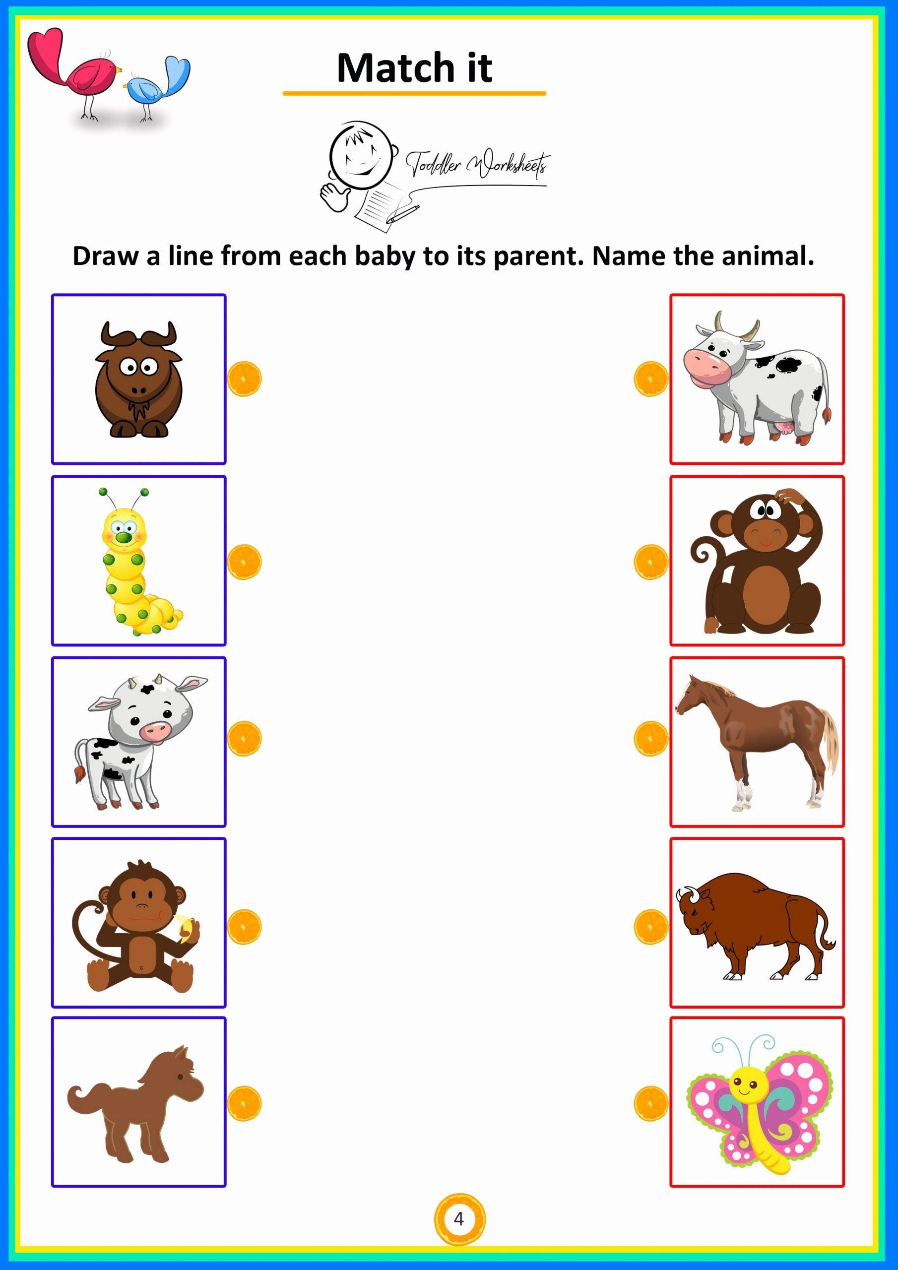 Simple Math Worksheets for Preschoolers Unique Match It 4 toddler Preschool Simple Math Worksheets