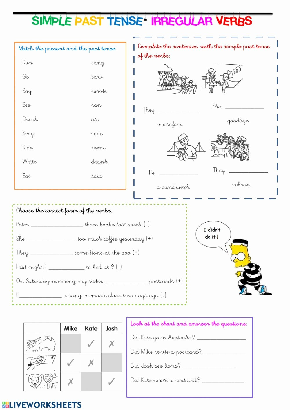 Simple Worksheets for Preschoolers Fresh Simple Past Tense Interactive Worksheet English Worksheets