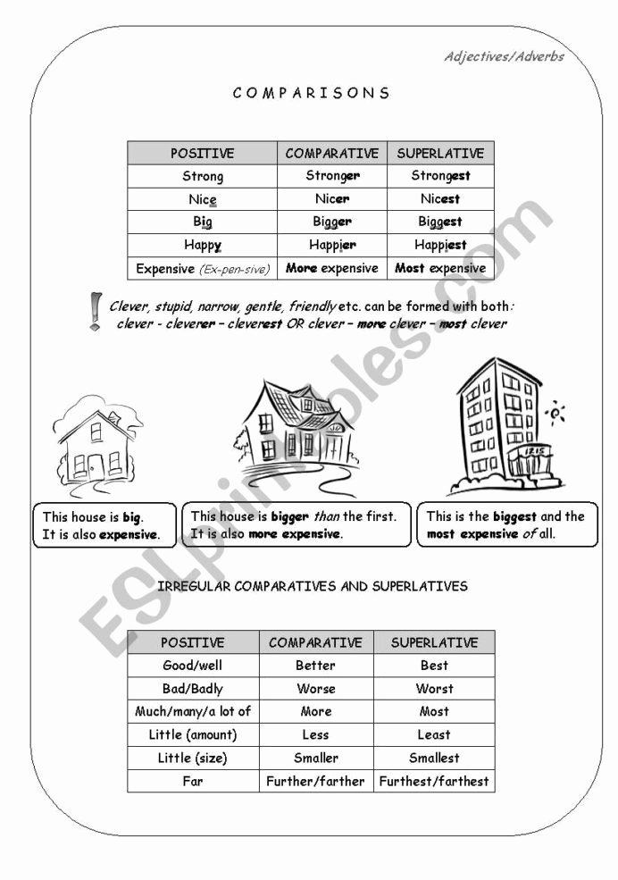 Size Comparison Worksheets for Preschoolers Best Of Good Better the Best Esl Worksheet by Bize Adjectives