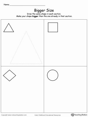 Size Comparison Worksheets for Preschoolers Fresh Draw A Bigger Size Shape