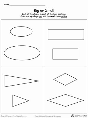 Size Comparison Worksheets for Preschoolers Fresh Paring Shapes Big and Small