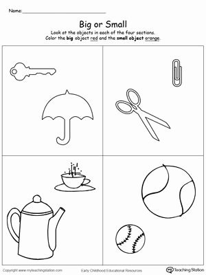 Size Comparison Worksheets for Preschoolers top Paring Objects Sizes Big and Small