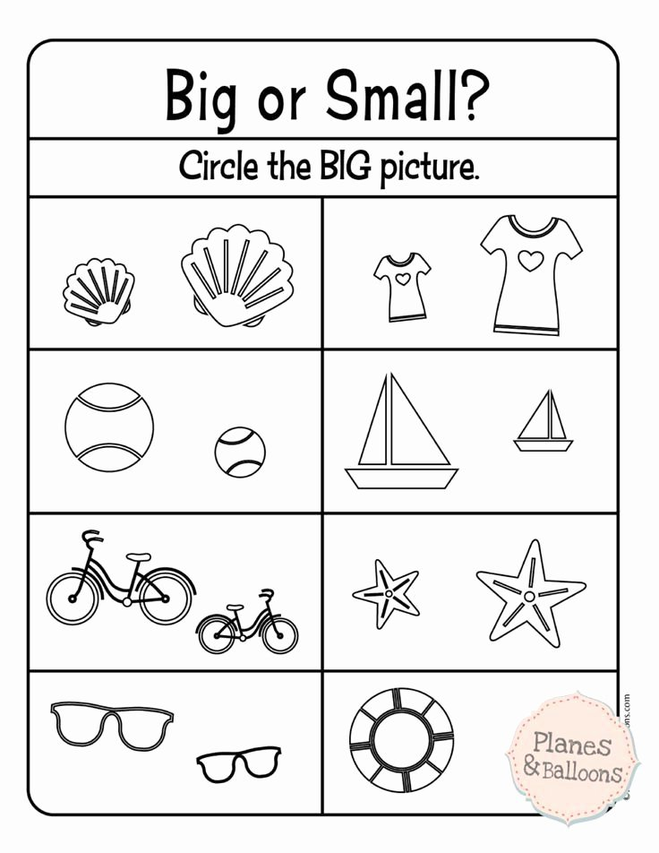 Size Comparison Worksheets for Preschoolers top Paring Size Big and Small Worksheets for Your Busy
