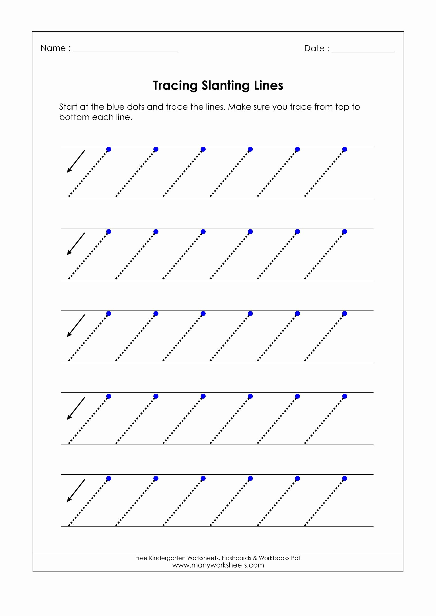 Slanting Lines Worksheets for Preschoolers Best Of No Worksheet Tracing Slanting Lines