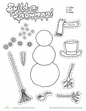 Snowman Worksheets for Preschoolers Awesome Build A Snowman Worksheet Education