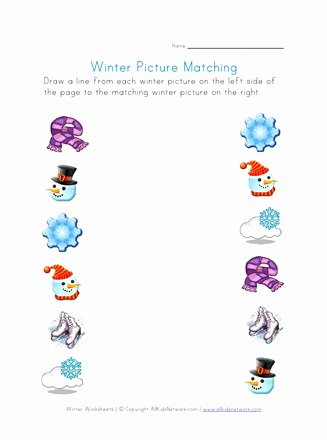 Snowman Worksheets for Preschoolers Lovely Winter Picture Matching Printable Winter Worksheets
