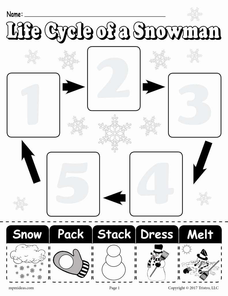 "Snowman Worksheets for Preschoolers New ""life Cycle Of A Snowman"" Printable Worksheet"