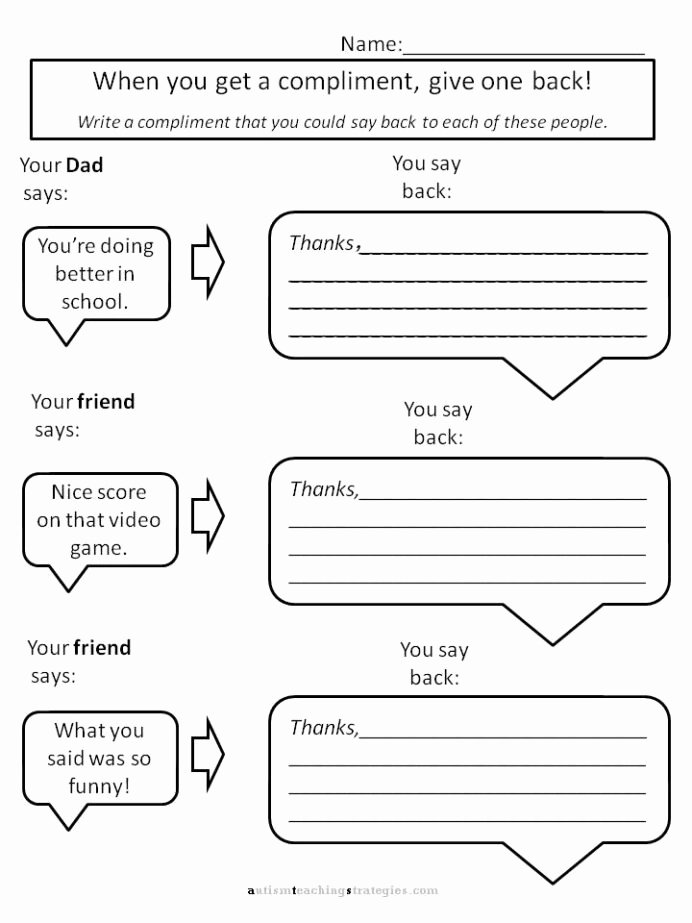Social Skills Worksheets for Preschoolers top Helping Kids with asperger to Give Pliments Worksheets