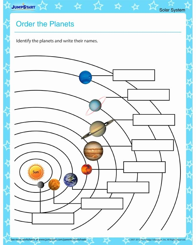 Solar System Worksheets for Preschoolers Unique order the Planets – Free Planet Worksheet for Primary Grades