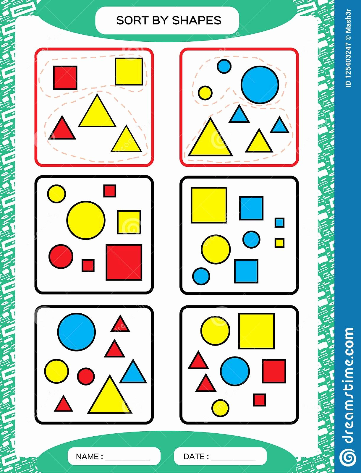 Sorting Worksheets for Preschoolers Beautiful sort by Shapes sorting Game Group by Shapes Square
