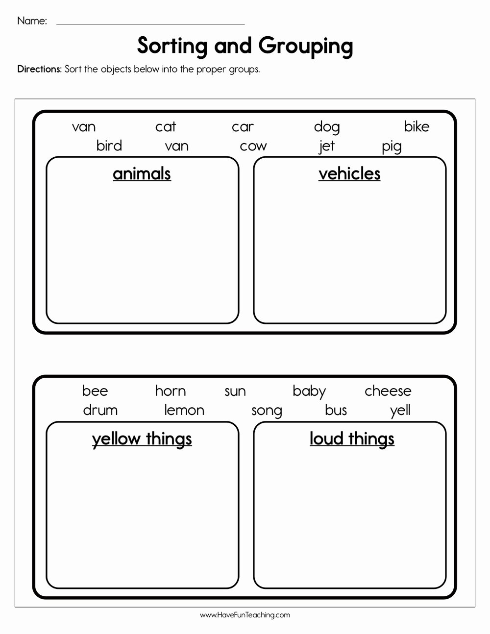 Sorting Worksheets for Preschoolers Best Of sorting and Grouping Worksheet