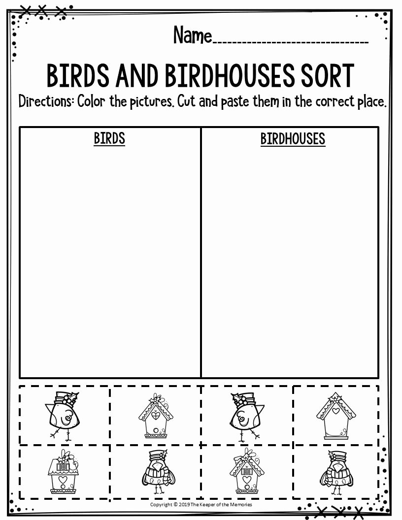 Sorting Worksheets for Preschoolers top Preschool Worksheets Birds & Birdhouses sort the Keeper Of