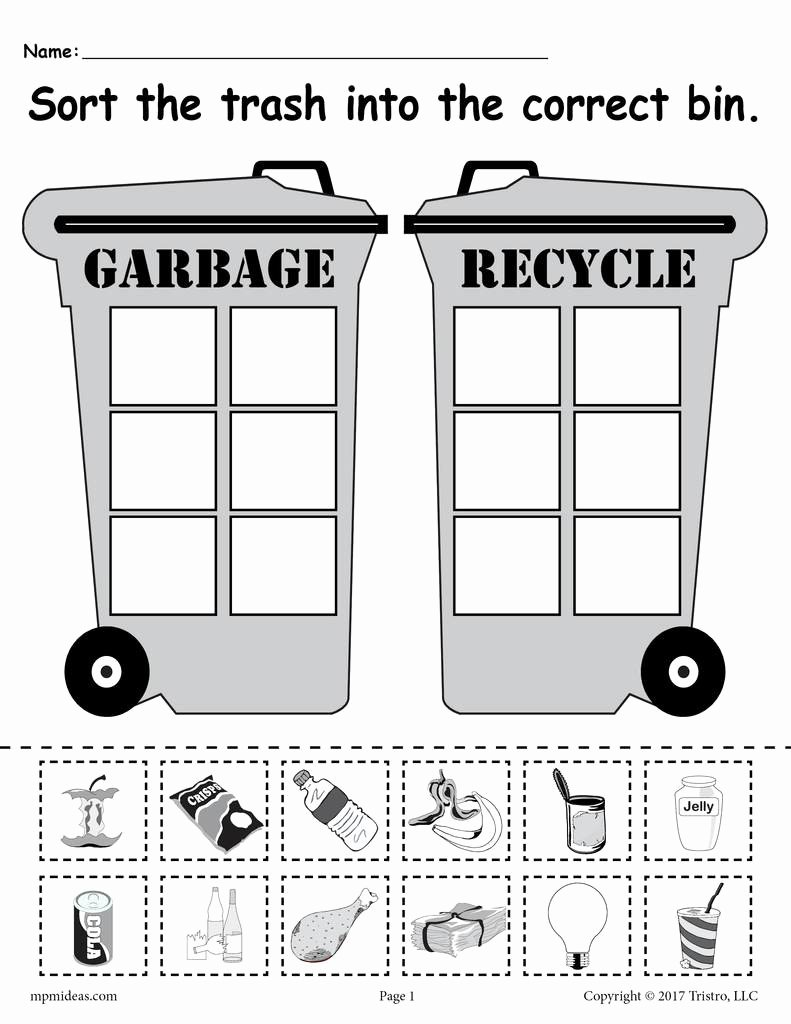 Sorting Worksheets for Preschoolers Unique sorting Trash Earth Day Recycling Worksheets 4 Printable Versions