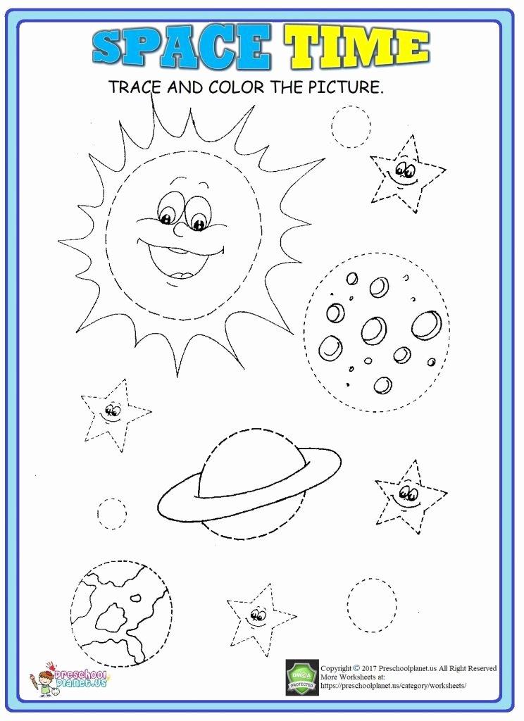Space Worksheets for Preschoolers Best Of Space Trace Worksheet – Preschoolplanet
