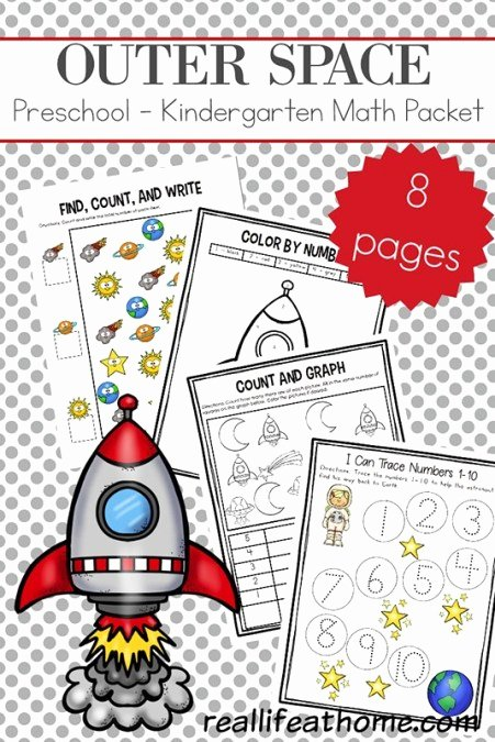 Space Worksheets for Preschoolers Fresh Outer Space Preschool and Kindergarten Math Worksheets Packet