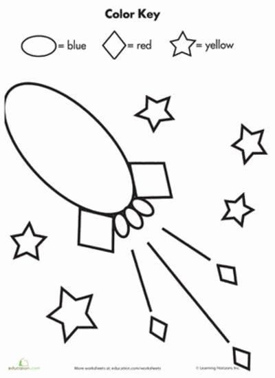 Space Worksheets for Preschoolers top Color by Shape Rocket In Space Worksheets