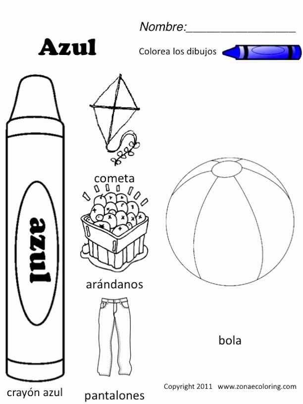 Spanish Color Worksheets for Preschoolers Beautiful Z Onae Coloring Education Colors Colors Worksheets 1