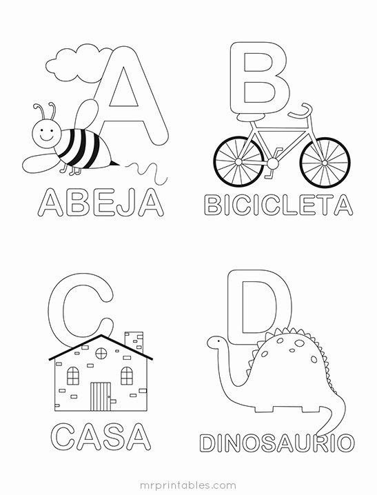 Spanish Color Worksheets for Preschoolers Inspirational Spanish Alphabet Coloring Mr Printables Worksheets