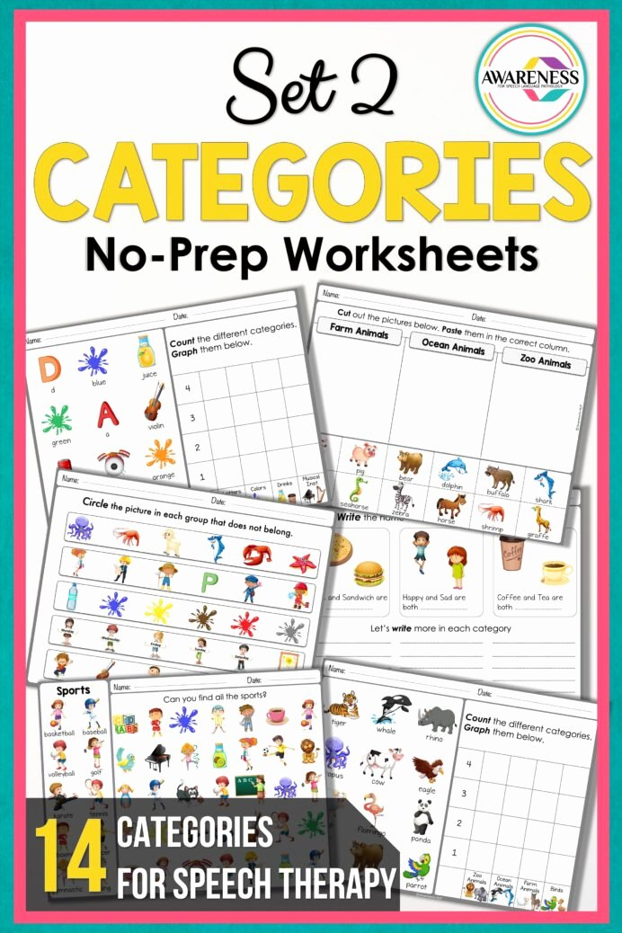 Speech therapy Worksheets for Preschoolers Best Of Speech therapy Categories Worksheets No Prep Activities Set