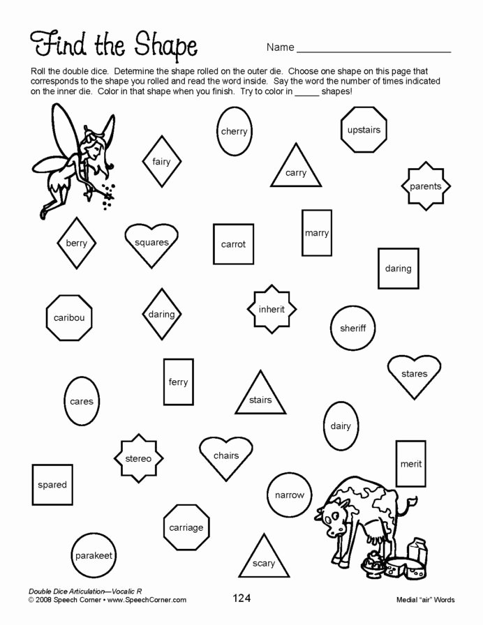 Speech therapy Worksheets for Preschoolers Fresh Speech Corner Double Dice Articulation Vocalic Educational