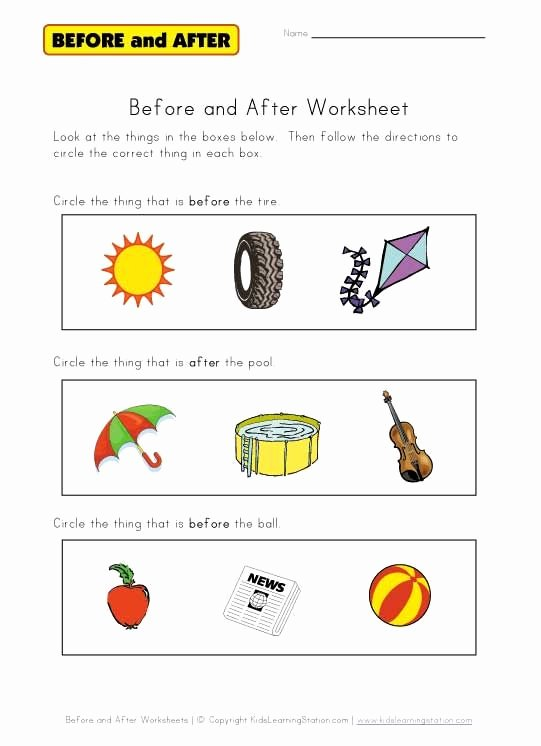 Speech Worksheets for Preschoolers Lovely before and after Worksheet
