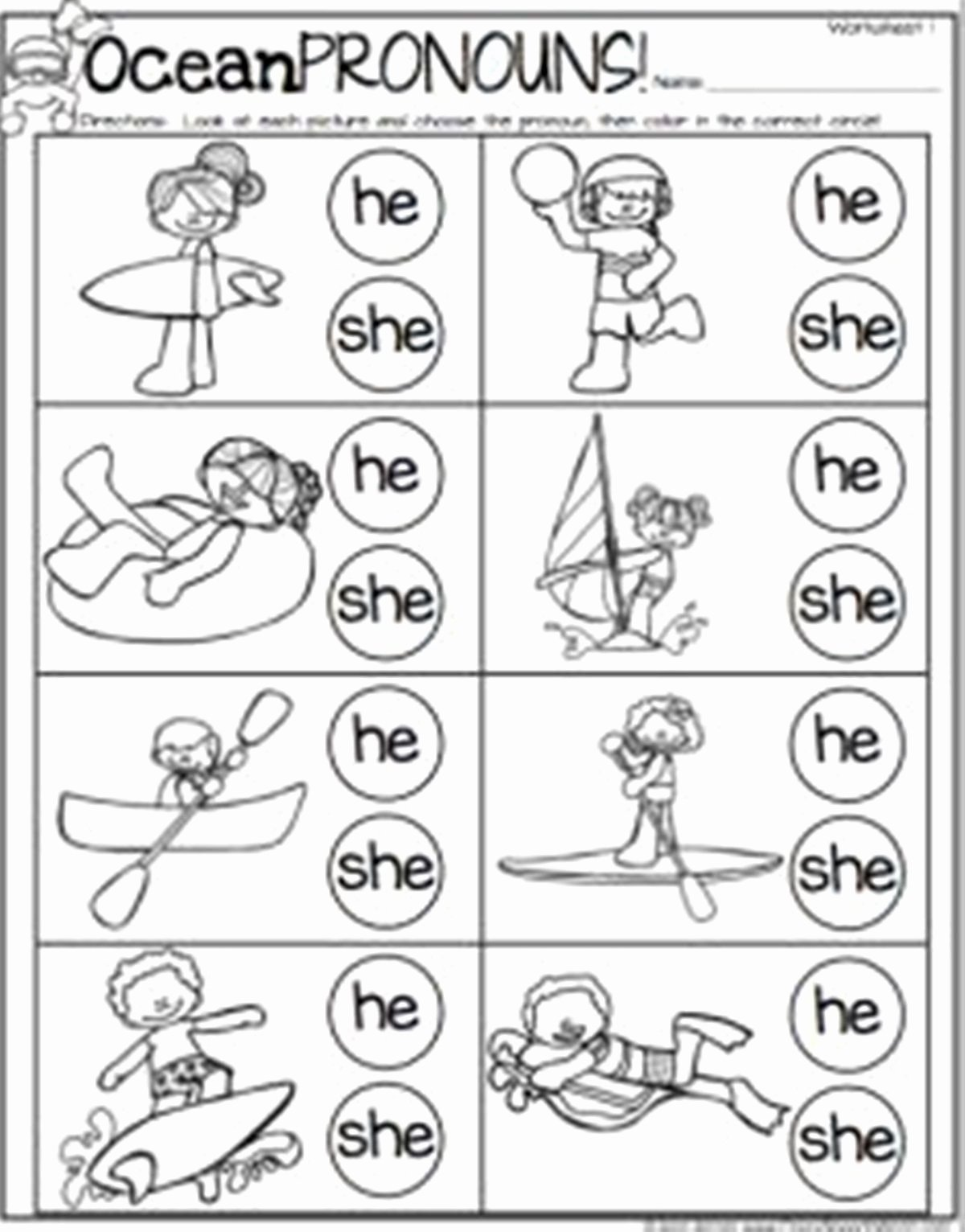 Speech Worksheets for Preschoolers Lovely Pronoun In English