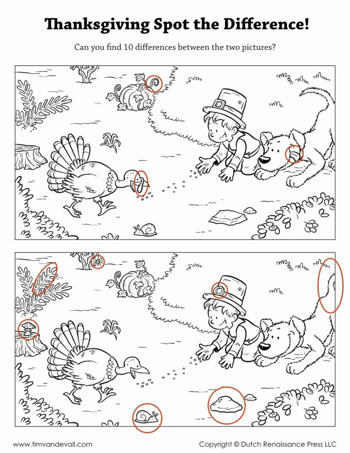 Spot the Difference Worksheets for Preschoolers Inspirational Spot the Difference Printable Find Worksheets Thanksgiving