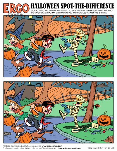 Spot the Difference Worksheets for Preschoolers top Printable Halloween Spot the Difference Activity Tim S