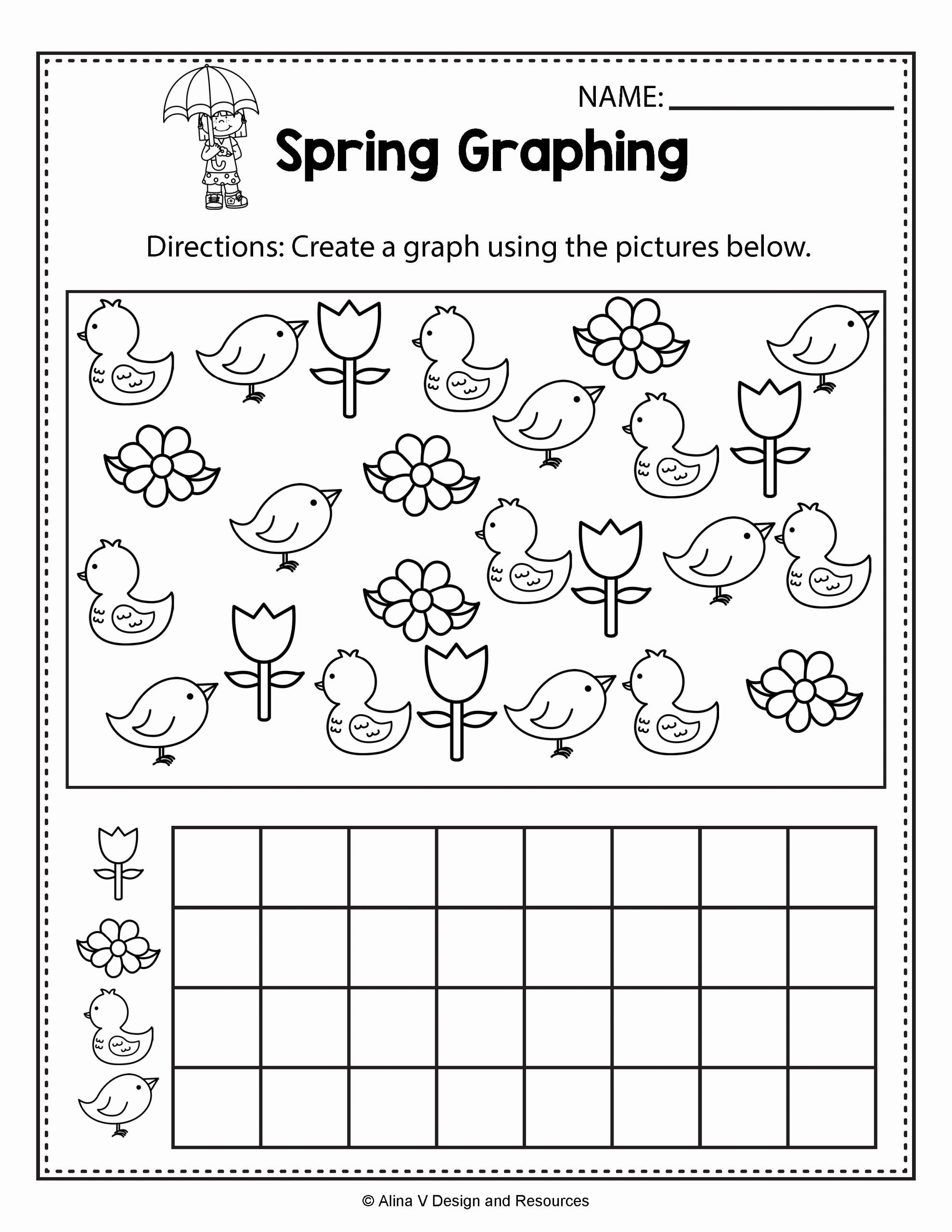 Spring Math Worksheets for Preschoolers Fresh Spring Graphing Spring Math Worksheets and Activities for
