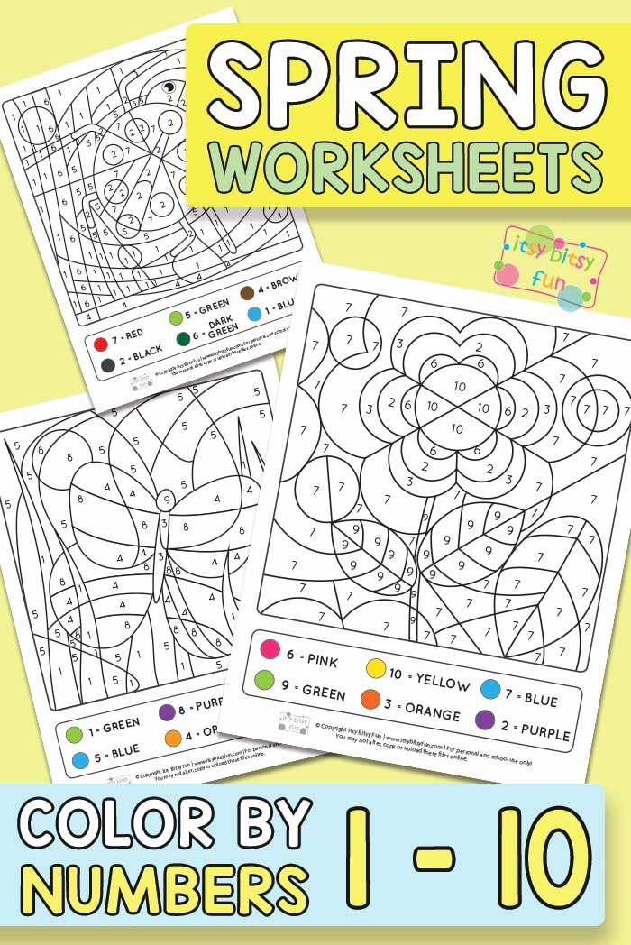 Spring Printable Worksheets for Preschoolers Beautiful Spring Coloring by Number Worksheets Itsybitsyfun