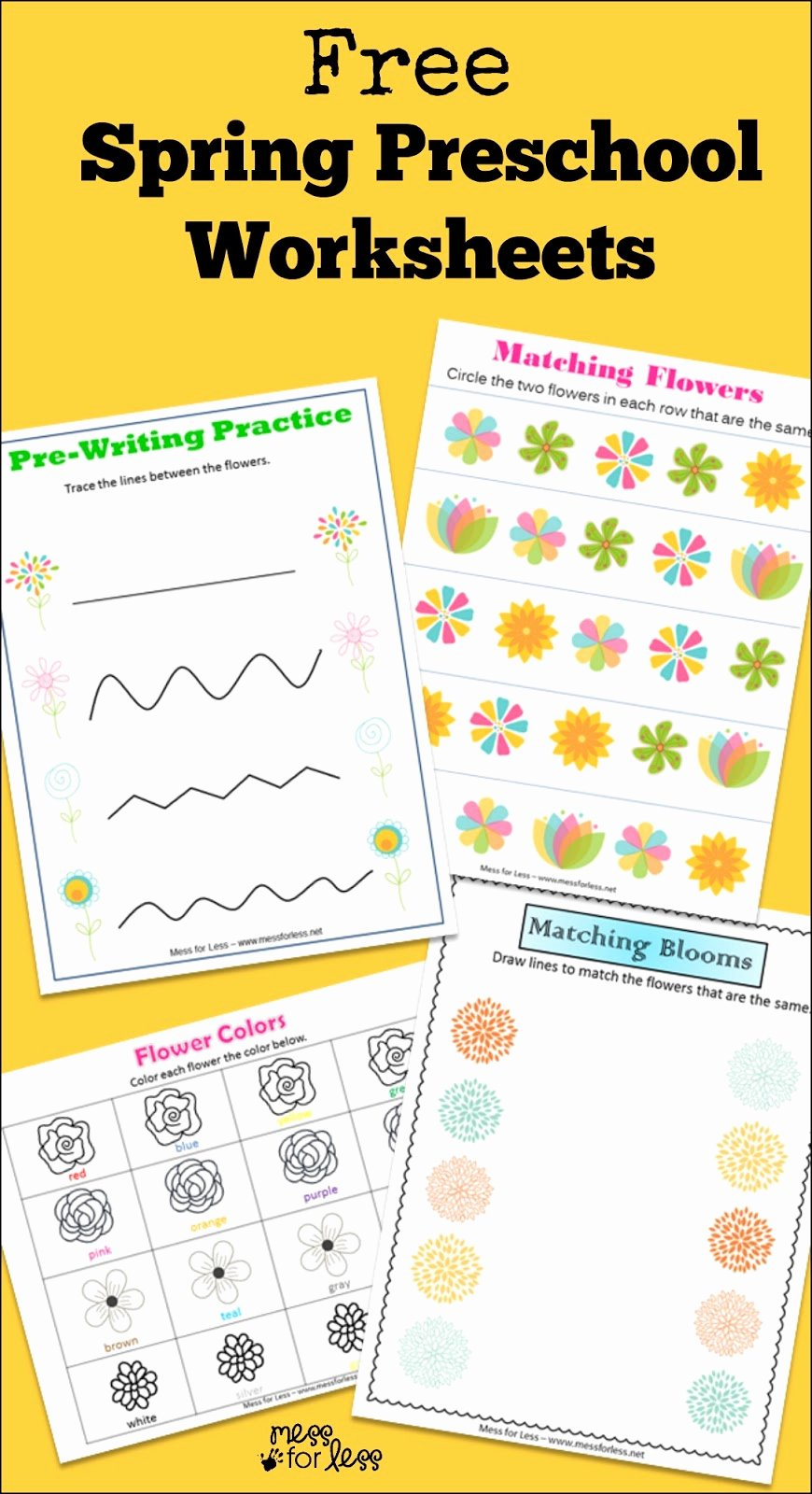 Spring Printable Worksheets for Preschoolers Fresh Free Spring Preschool Worksheets Mess for Less