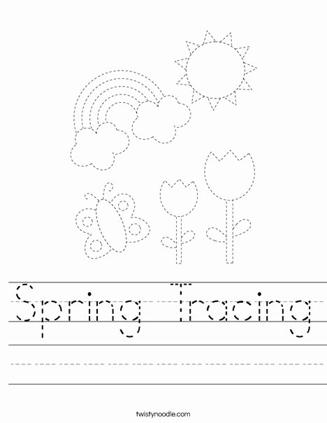 Spring Tracing Worksheets for Preschoolers Beautiful Spring Tracing Worksheet Twisty Noodle Worksheets 468x609