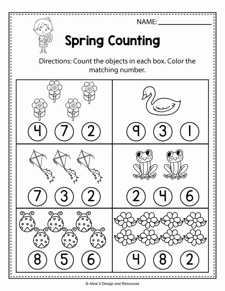 Spring Worksheets for Preschoolers New Free Spring Math Worksheets for Kindergarten No Prep 7th