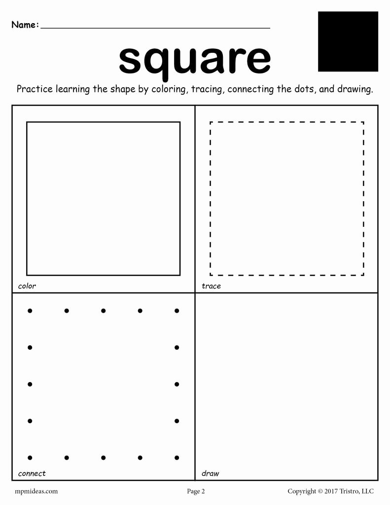 Square Shape Worksheets for Preschoolers Beautiful Square Shape Worksheet Color Trace Connect & Draw