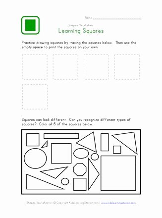 Square Shape Worksheets for Preschoolers Beautiful Square Worksheet