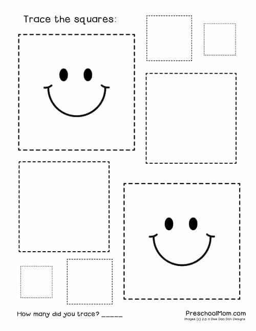 Square Shape Worksheets for Preschoolers New Shape Tracing Worksheets Preschool Mom