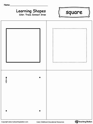 Square Shape Worksheets for Preschoolers top Learning Shapes Color Trace Connect and Draw A Square