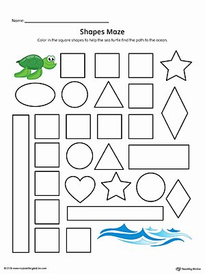 Square Worksheets for Preschoolers Best Of Square Shape Maze Printable Worksheet Color