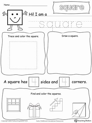 Square Worksheets for Preschoolers Inspirational All About Square Shapes