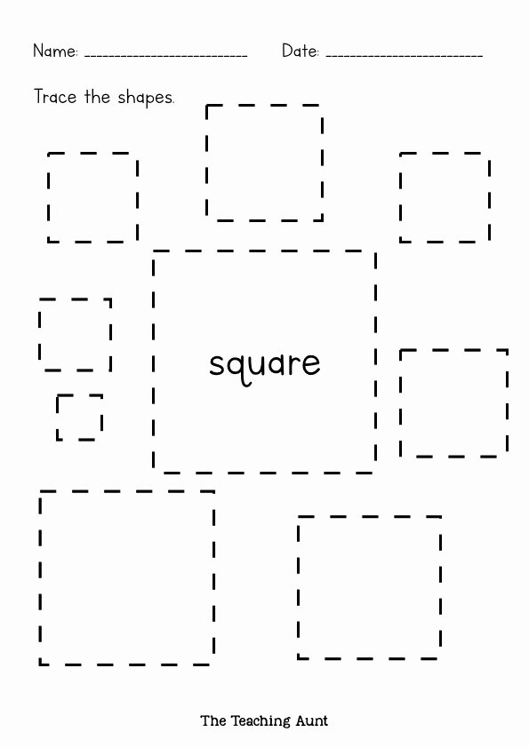 Square Worksheets for Preschoolers Lovely Shapes Tracing Worksheets Free Printable the Teaching Aunt