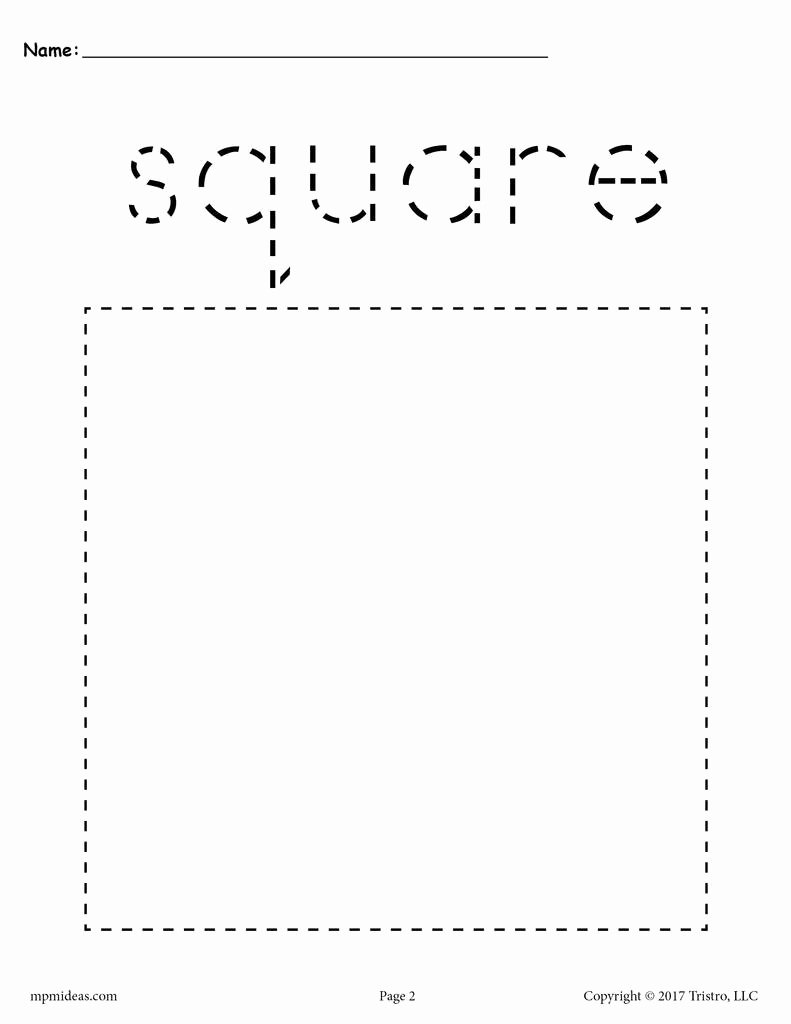 Square Worksheets for Preschoolers Unique Square Tracing Worksheet