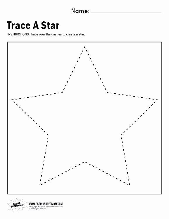 Star Worksheets for Preschoolers Awesome Trace A Star Worksheet Paging Supermom