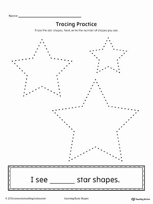 Star Worksheets for Preschoolers Beautiful Geometric Shape Counting and Tracing Star