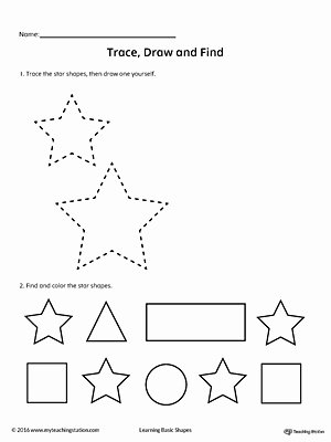 Star Worksheets for Preschoolers Beautiful Trace Draw and Find Star Shape