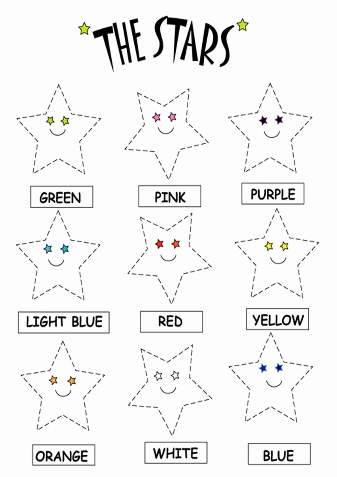 Star Worksheets for Preschoolers Lovely Kids Page Color the Stars Worksheets