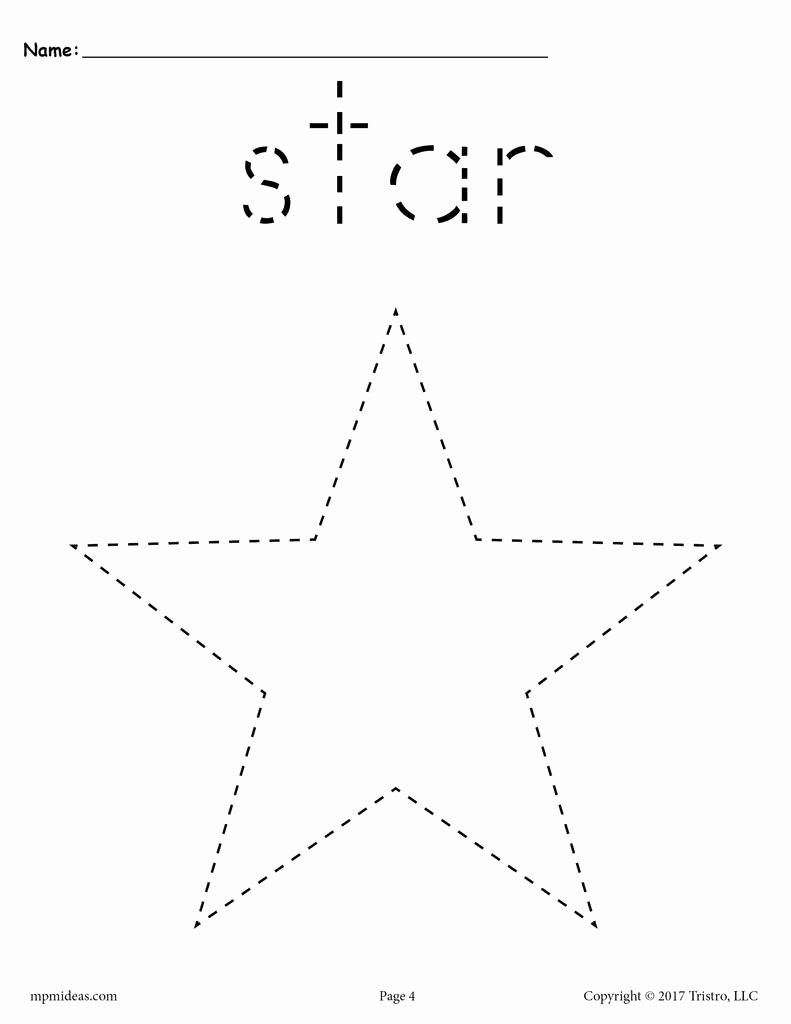 Star Worksheets for Preschoolers top Star Tracing Worksheet