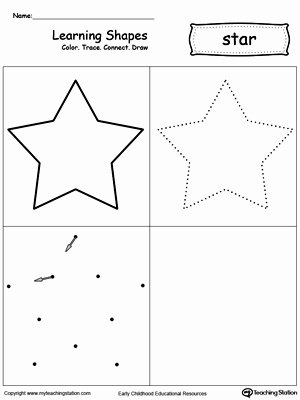 Star Worksheets for Preschoolers Unique Learning Shapes Color Trace Connect and Draw A Star