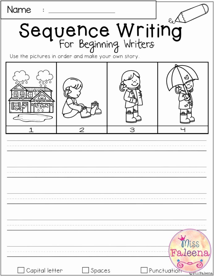Story Sequencing Worksheets for Preschoolers New March Sequence Writing for Beginning Writers Kindergarten