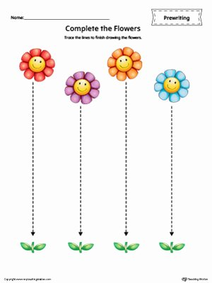 Straight Line Worksheets for Preschoolers Fresh Straight Line Tracing Prewriting Flower Worksheet In Color