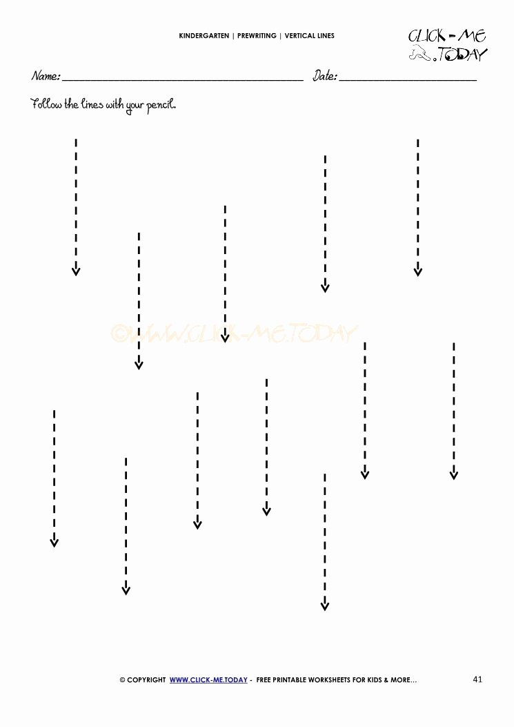 Straight Line Worksheets for Preschoolers Fresh Vertical Lines Worksheet 41